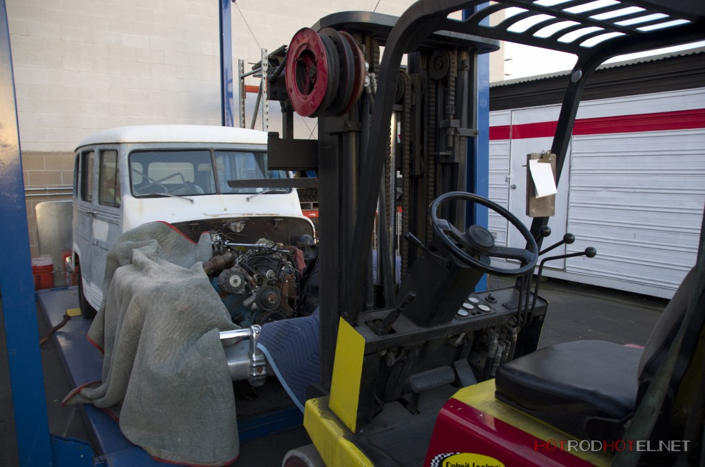 V6 Turbo Engine being dropped into 1950 Willys